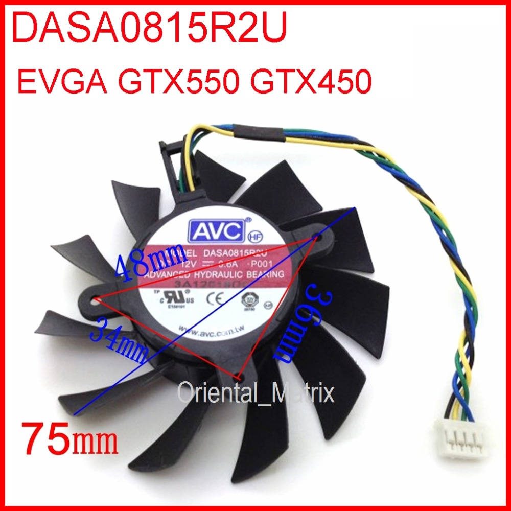 Free Shipping DASA0815R2U 12V 0.60A 75mm 34x36x48mm For EVGA GTX550 GTX450 Graphics Card Cooling Fan 4Pin 4Wire