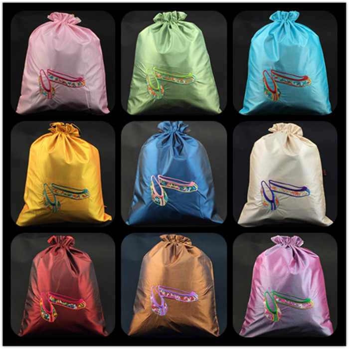 a0844ea444 ... Embroidery Dance Shoe Extra Large Gift Bags Drawstring Satin Fabric  Storage Bag Dust Cover Packaging Pouch ...