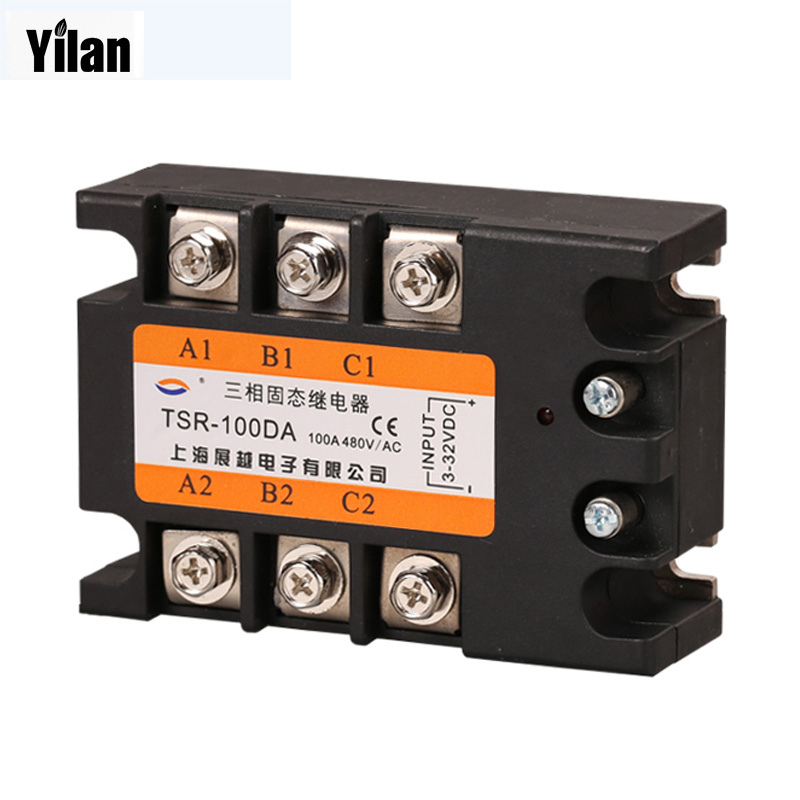 Three phase Solid state relay TSR-100DA 100A SSR Relay three phase solid state relay tsr 60da 60a ssr relay