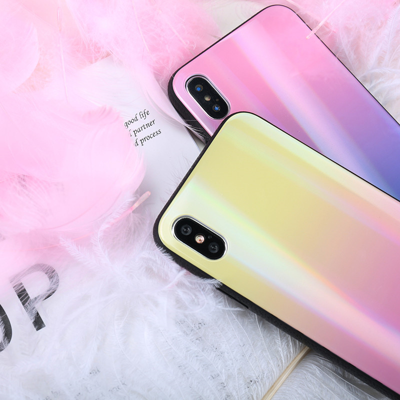 BONVAN For iPhone X 7 8 Plus Tempered Glass Back Case Gradient Color Laser Aurora Silicone Bumper For iPhone 7 6S 8 6 Plus Cover09