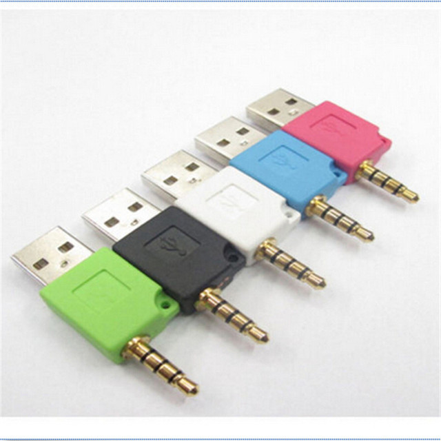 3.5mm Jack Plug USB Charger Charging Commutator Port For Apple ipod 2th shuffle Durable Electricical Accessorie Mini usb Adapter