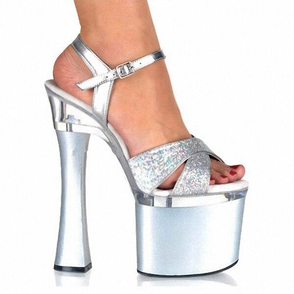 ФОТО Sexy Sequined Fashion Supermodel Catwalk 18CM High Heels Shoes 7 inch womens Wedding Sandals Night club Performance Star Shoes
