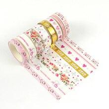 New Valentine designs Pink washi tape set Washi Tape Adhesive DIY decorative valentine gift for sweet girls