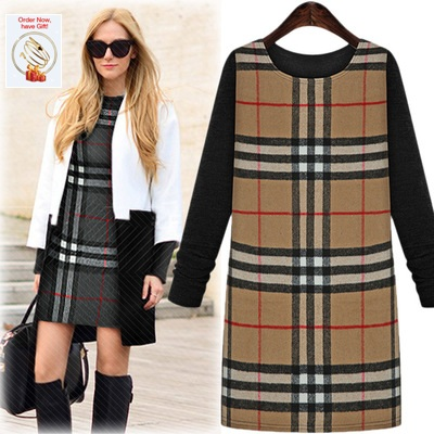 Black Friday Free Shipping 2017 spring new stitching woolen thick long-sleeved dress fas ...