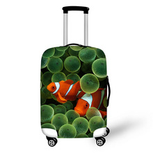 Купить с кэшбэком Suitcase Protective Cover Sea fish Trunk Case Apply to 18-30 inch Suitcase Elastic Thick Luggage Cover travel accessories