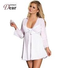 e60e1bbc2d6309 Comeondear seksowna bielizna kobiety erotyczne bielizna nocna v neck z  długim rękawem bluzka Kimono sen koszulka nocna suknia sz.