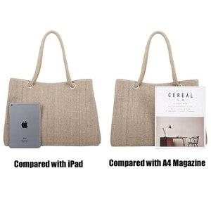 Image 5 - Fashion Women Linen Handbag Large Shopping Tote Holiday Big Basket Bags Summer Beach Bag Woven Beach Shoulder Bag JXY550