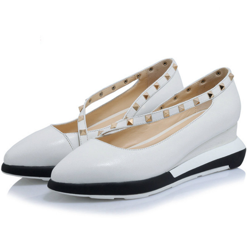 ФОТО 2017 Genuine leather spring summer women med wedges heel single shoes OL woman Rivet pointed toe three colors sweet pumps shoes