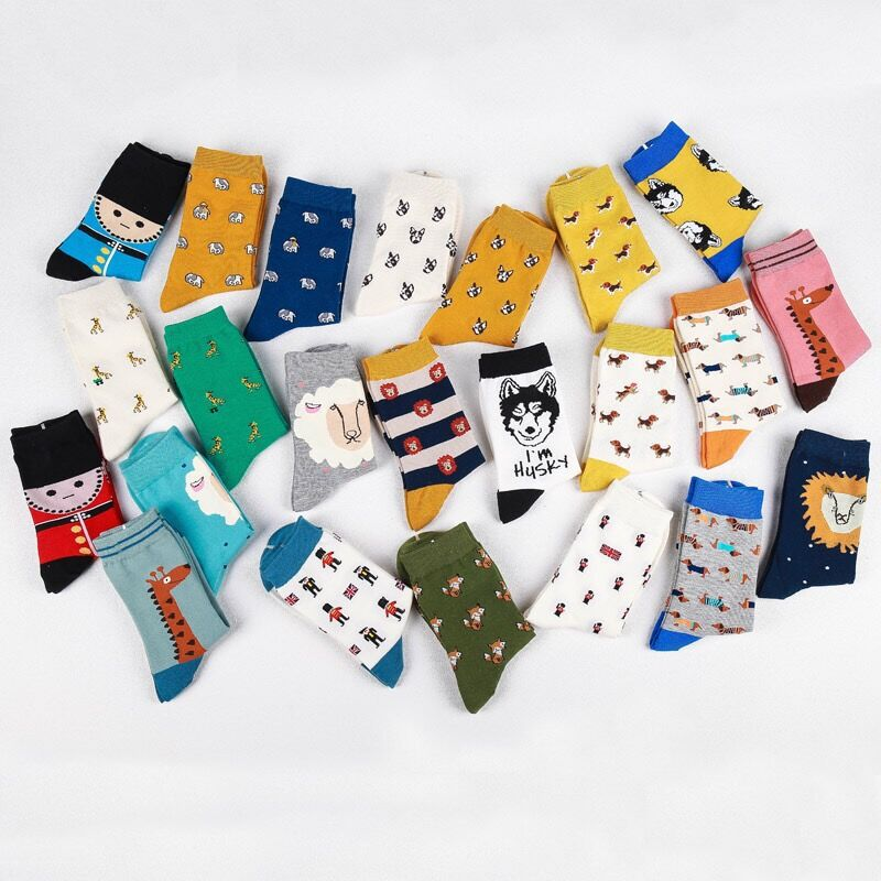 35-42 Lovers Socks Japanese Women and Men Cute Animal Cartoon Long Socks Funny Dachshund Giraffe Bulldog Husky Fox Socks Socks
