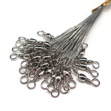 24PCS/lot Fishing Lure Trace Wire Leader line Swivel Tackle Spinner Shark Spinning with 15CM, 23CM, 30CM