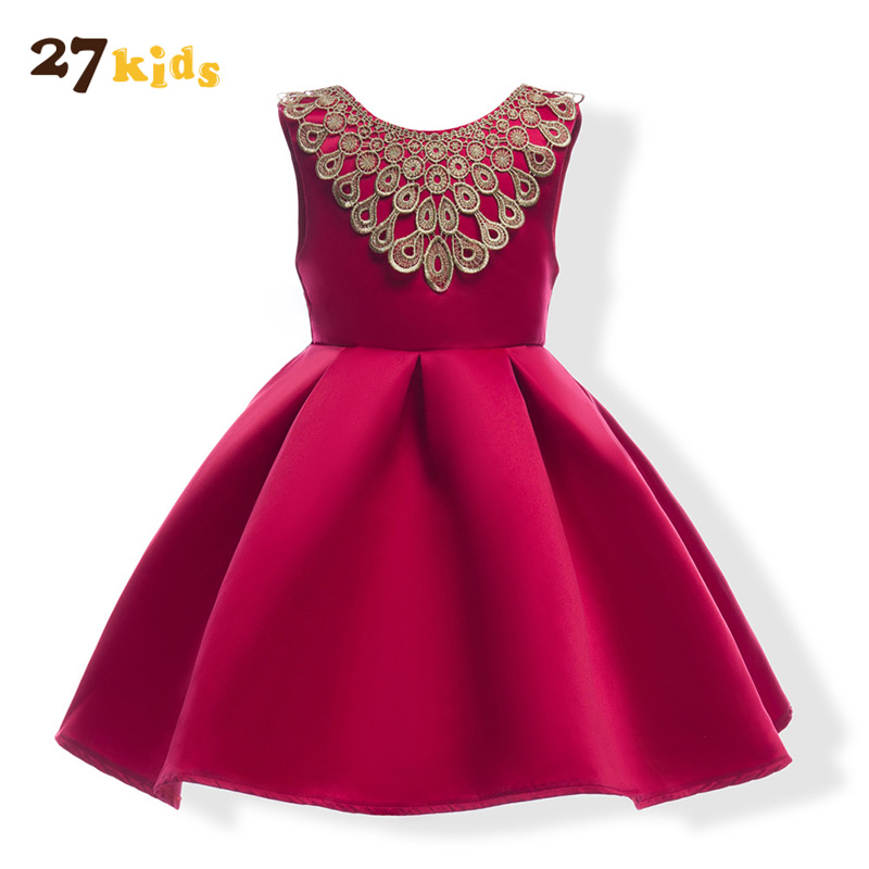 27Kids Girl Dresses Princess Children Clothing Baby Costume Kid's Party Dress High Quality Girls Clothes Wedding Wear Vestidoes high quality vestidos children clothing new girls red wedding dress summer party dresses for kids costume flower chiffon clothes
