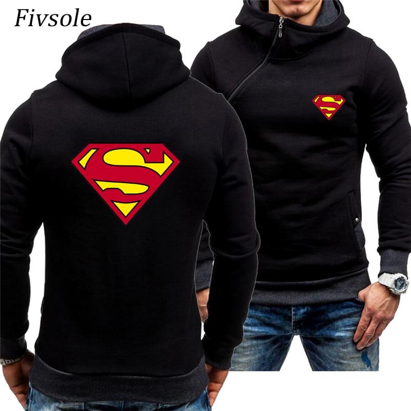 2019 Spring Fall Cardigan Jackets Superman Printed Hoodies, Sweatshirts Men Diagonal zip up Jackets Man Casual Sportswear Tops