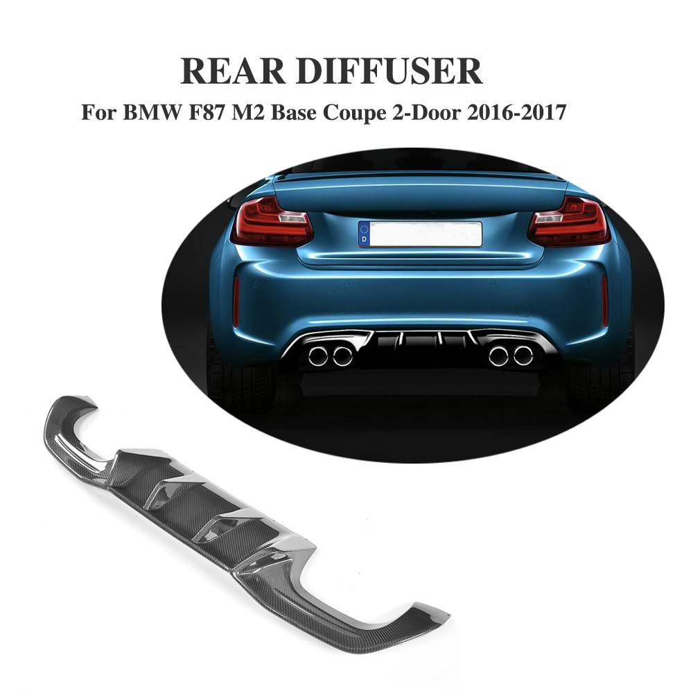 Rear Diffuser Lip Big Fins Carbon Fiber Bumper Protector For BMW F87 M2 Base Coupe 2 Door 16-17 PB Style dual exhaust two outlet цена