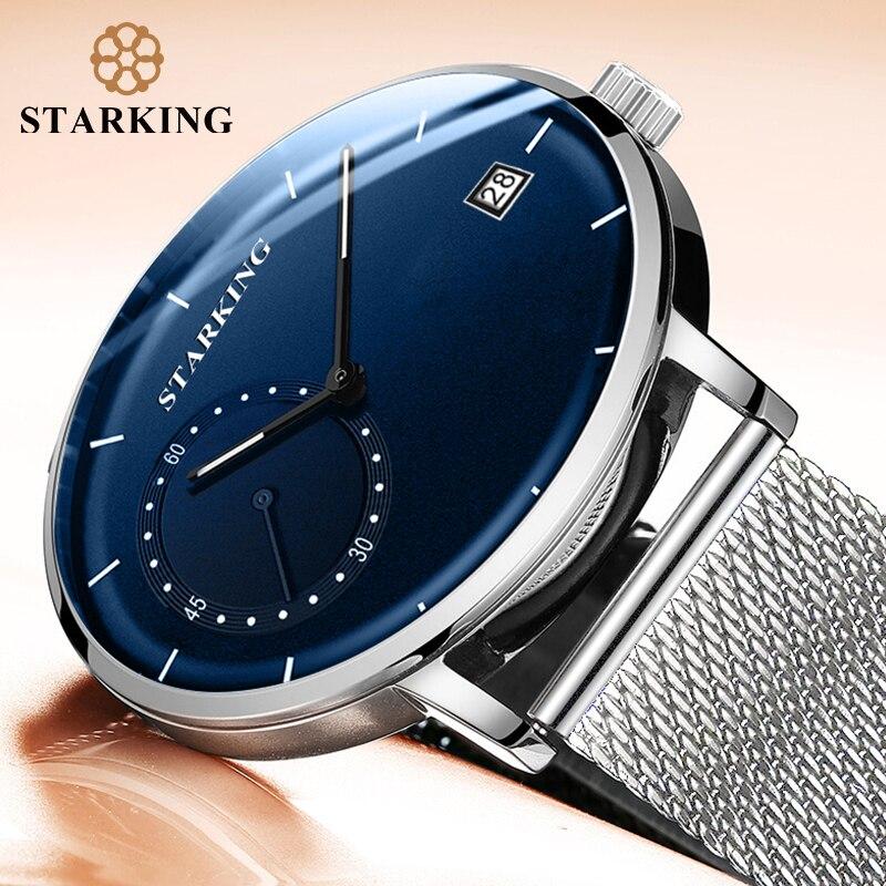 цена STARKING Dress Men Watch Steel Mesh Band Quartz Analog Wristwatch 3ATM Waterproof Curved Glass Blue Male Clock Relogio Masculino онлайн в 2017 году