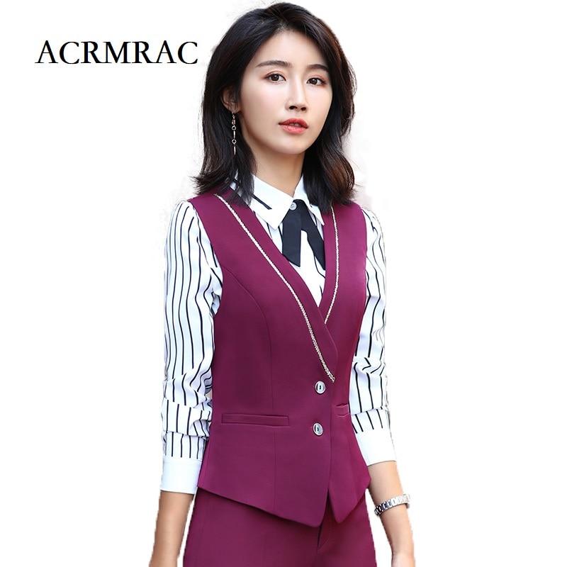 ACRMRAC Women Suits Slim Solid Color Splice Vest Pants 2-piece Set OL Formal Women Pants Suits Womens Business Suits