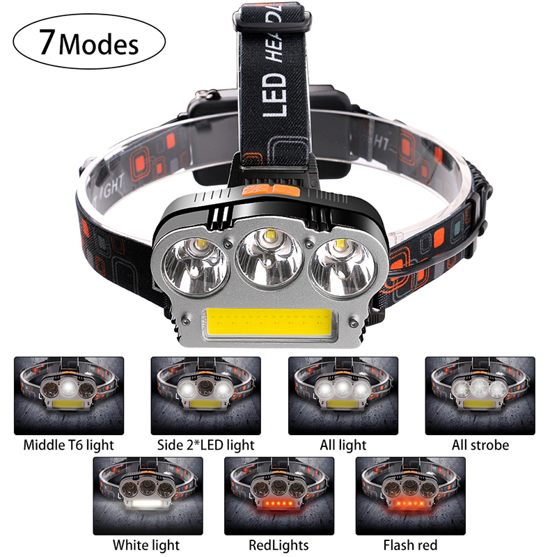 High-beam Rechargeable 7 Modes Headlamp Working Outdoors Camping Hiking Red & White T6 C ...