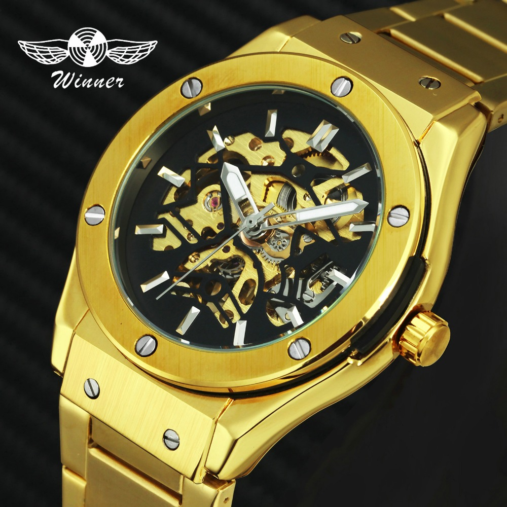 Winner Gold Watch Men;s Brand Top Luxury Automatic Mechanical Stainless Steel Skeleton Strap Fashion Business Wristwatch