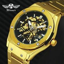 Winner Gold Watch Men;s Brand Top Luxury Automatic Mechanical Stainless Steel Skeleton Strap Fashion Business Wristwatch цена