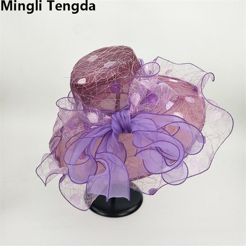 Новинка, Свадебные шляпы из органзы для женщин, элегантные вуалетки, Свадебные шляпы с цветами и шляпки с бантом, свадебные аксессуары mingli Tengda - Цвет: Purple