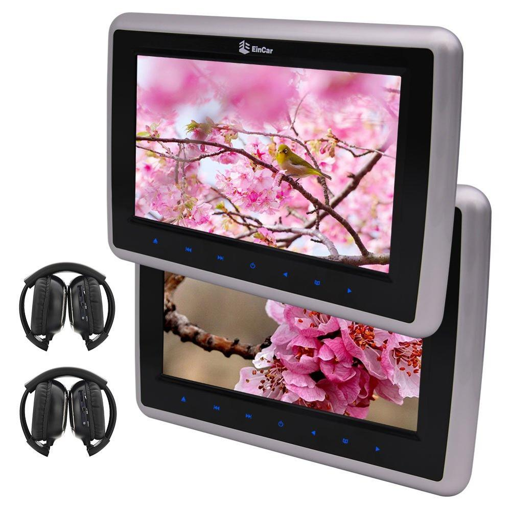 10' Two Screen DVD Players Digital Screen Twin Car pc Backseat Headrest Entertainment HDMI for Video Audio IR Free Headphonesx2