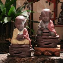 Ceramic incense burner chanting small monk color sand dish sandalwood furnishings