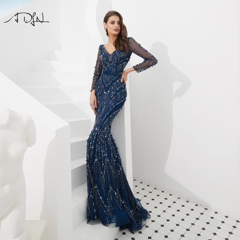 ADLN Luxurious Mermaid   Evening     Dresses   Long Robe de Soiree Dubai Deep V-neck Muslim Long Sleeves Prom Gown abiye gece elbisesi
