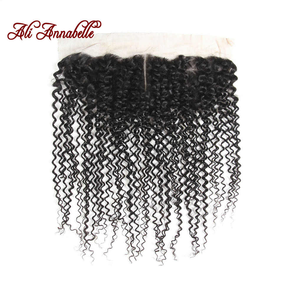 ALI ANNABELLE Brazilian Kinky Curly 13x4 Ear To Ear Lace Frontal Closure Swiss Lace 100% Remy Human Hair Closure Middle Part
