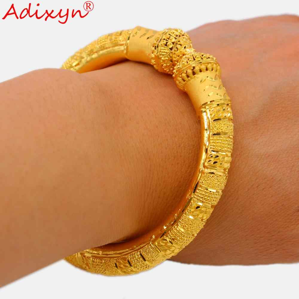 Adixyn NEW Dubai Bangles For Women/Girls 24k Gold Color/Copper Bangles&Bracelet Africa India Jewelry Can Open