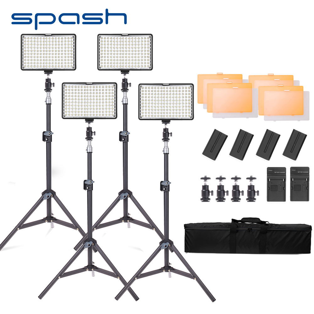 spash TL-160S 4 Sets LED Video Light Photo Studio Lamp 3200K/5600K CRI85 Light for Video Photographic Lighting with Stand Tripod spash tl 336as led video light dimmable 3200k 5600k photographic lighting hand held studio light lamp for canon nikon olympus