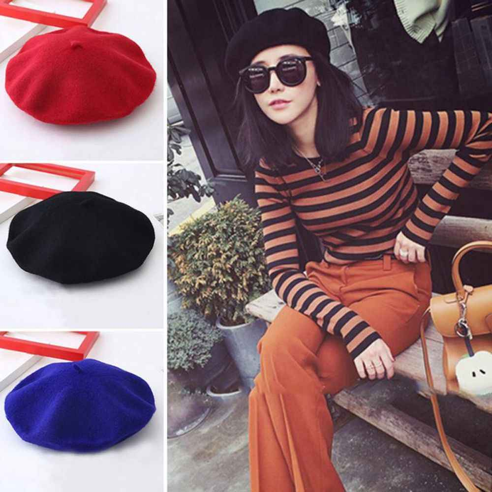 825f56a8d6a1a ... 1PC Fashion Sweet Winter Wool Blend Beret Warm Women Felt French Beret  Beanie Solid Color Berets ...