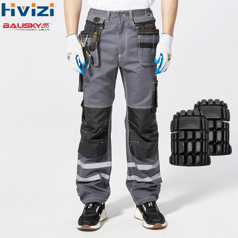 Alta Visibilidade Reflexiva Calças Primavera Carga Calças De Verão Masculinos Calças Macacão Calças Multi-bolso De Algodão Wear-resistant B114