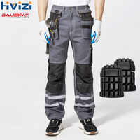 High Visibility Reflective Trouser Spring Summer Cargo Pants Male Multi Pocket Cotton Wear-resistant Pants Overalls Pants B114