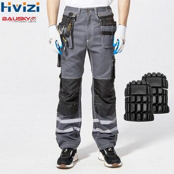 Ad alta Visibilità Riflettente Pantaloni Primavera Estate Cargo Pantaloni Maschile Pantaloni Multi-Tasca del Cotone di Usura-resistente Tute e Salopette Pantaloni B114