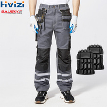 High Visibility Reflective Trouser Spring Summer Cargo Pants Male Multi Pocket Cotton Wear-resistant Overalls B114
