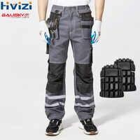 Hohe Sichtbarkeit Reflektierende Hosen Frühling Sommer Cargo Hosen Männlichen Multi Tasche Baumwolle Tragen-beständig Hosen Overalls Hosen B114