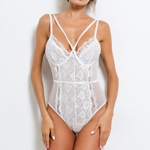 Sexy Cross Front Lace Embroidery Perspective Bodysuit Women's Strapy Playsuit