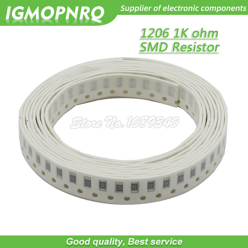 100PCS 1206 SMD Resistor 1% Resistance  1K Ohm Chip Resistor 0.25W 1/4W 102 IGMOPNRQ