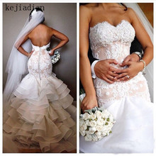 kejiadian mermaid Wedding Dresses lace ruffles tiered 2019
