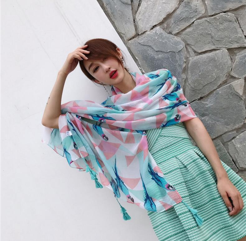 Fresh elegant cotton linen art scarves parrots printed tassels scarf large air - conditioning shawl summer wrap
