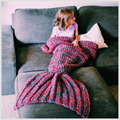 Mermaid tail baby blanket handmade wool knitted children photography props muslin swaddle sleeping bag wikkeldeken baby wrap