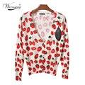 Cute cherry strawberry Cardigan High Quality Women Spring Autumn Jacket Outwear 2017 Kawaii Casual WS-015