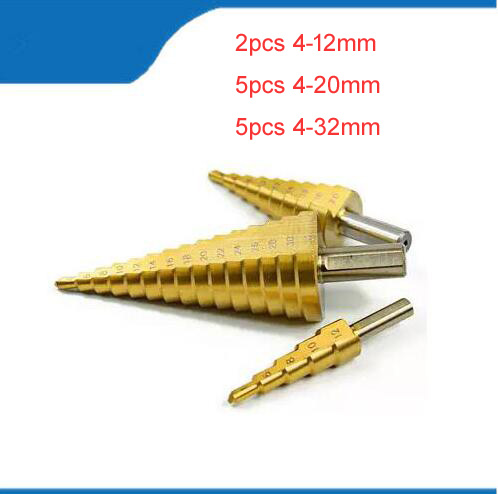 Hex Titanium Step Cone Drill Bit 4-12/20/32MM Hole Cutter HSS For Sheet Metalworking Wood Drilling High Quality Power Tools 3pcs hss 4241 step cone drill bit set 1 4 hex shank titanium coated wood hole cutter 6 9 13 steps for power tools