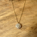 LASAMERO Bezel Set 1.25ct Cushion Cut Lab Grown Moissanites Pendant 9k Two Tone Gold Floral Solitaire Pendant Necklace