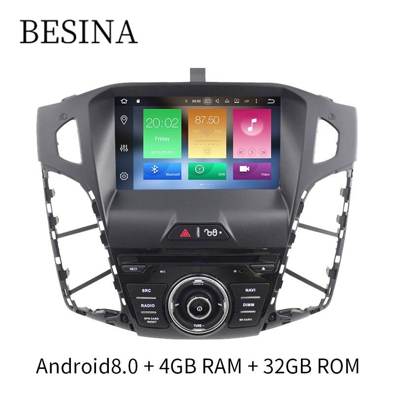 Besina Octa Cores Android 8.0 Lecteur DVD de Voiture Pour Ford Focus 2012 WIFI GPS Navigation Radio 4g + 32g Volant multimédia AUX