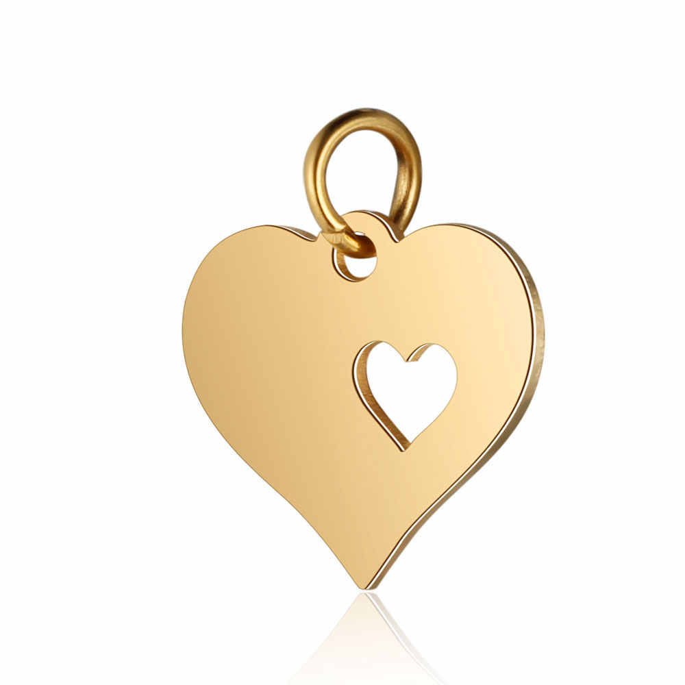 30pcs/Lot 316L Stainless Steel Charms Gold Color Hollow Out Love Hearts Star Charms Pendants for Jewelry Making DIY Accessory