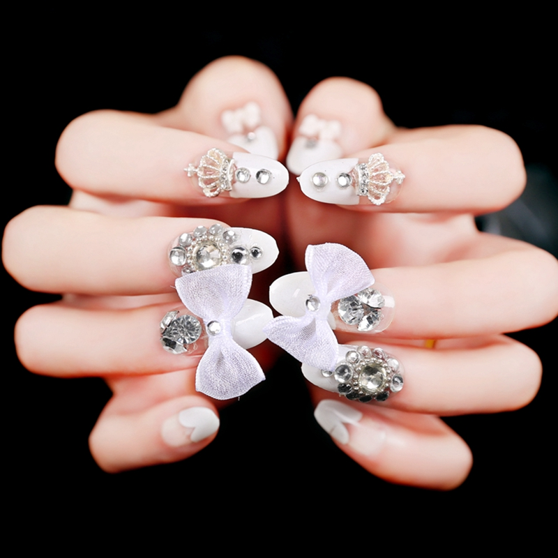 French White Heart Shape False Nails Art Tips Artificial Acrylic ...