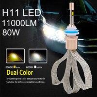 2PCS Automobiles H11 Led Bulbs Dual Color 6000k Headlight 3000k Fog Light 80w 11000lm Auto Led Light Car Driving Car Light Bulbs