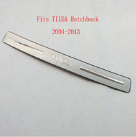 For 2004 2013 Nissan Tiida Automobile Hatchback Stainless Steel RearGuards Rear Bumper Car Styling Stickers Accessories