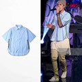 2016 mens fashion hip hop tshirt justin bieber fear of god streetwear brand clothing clothes plaid zipper t shirt kanye