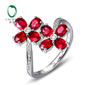 CaiMao 18KT/750 White Gold 0.11ct Round Cut Diamond 2.27ct Natural Ruby Engagement Ring Jewelry